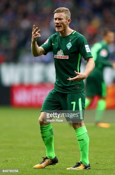 Florian Kainz of Bremen gestures during the Bundesliga match between SV Werder Bremen and FC Schalke 04 at Weserstadion on September 16 2017 in...