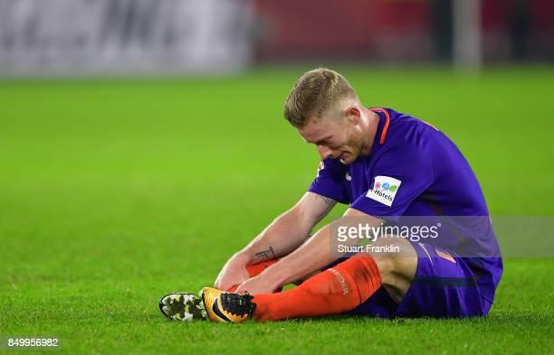 Florian Kainz of Bremen looks dejected during the Bundesliga match between VfL Wolfsburg and SV Werder Bremen at Volkswagen Arena on September 19...