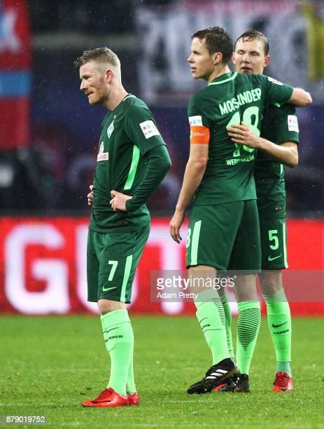 Florian Kainz of Werder Bremen is dejected after losing the Bundesliga match between RB Leipzig and SV Werder Bremen at Red Bull Arena on November 25...