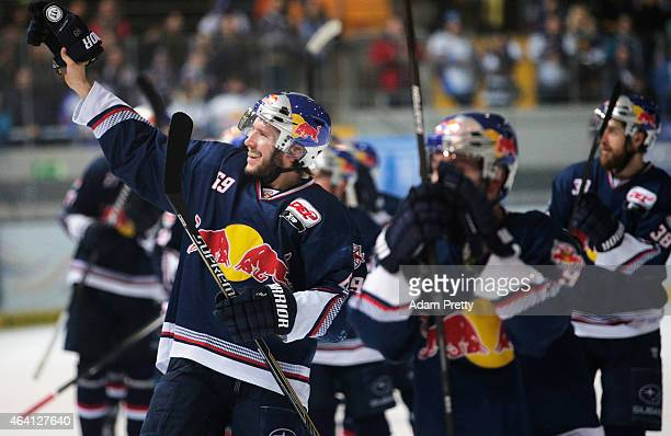 Florian Kettemer of EHC Muenchen celebrates victory after the DEL Ice Hockey match between EHC Muenchen and Eisbaeren Berlin on February 22 2015 in...