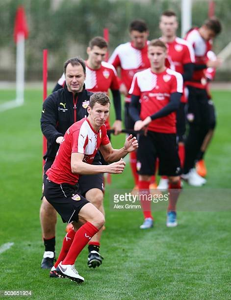 Florian Klein and team mates exercise during a VfB Stuttgart training session on day 1 of the Bundesliga Belek training camps at Huseyin Aygun...