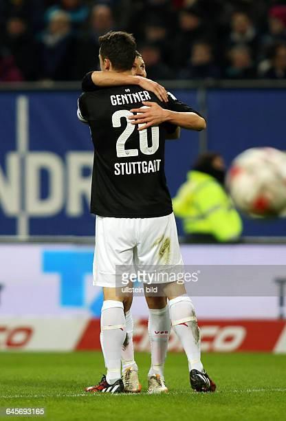 Florian Klein, Christian Gentner, Jubel, Freude, Emotion nach Tor zum 0:1 durch Florian Klein , Hamburger SV HSV - VfB Stuttgart, Bundesliga DFL,...