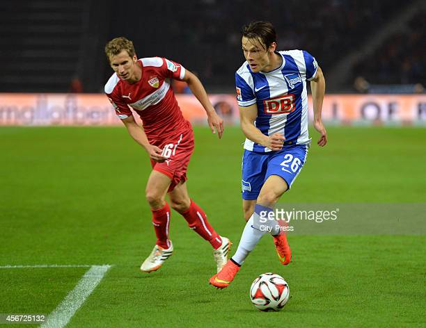 Florian Klein of VfB Stuttgart and Nico Schulz of Hertha BSC during the game between Hertha BSC and VfB Stuttgart on october 3 2014 in Berlin Germany