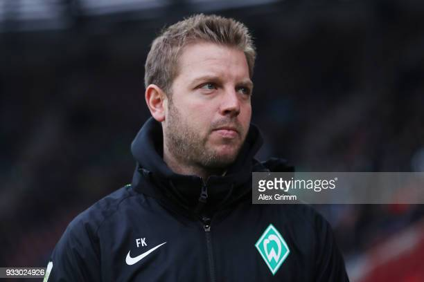 Florian Kohfeldt coach of Bremen looks on before the Bundesliga match between FC Augsburg and SV Werder Bremen at WWKArena on March 17 2018 in...