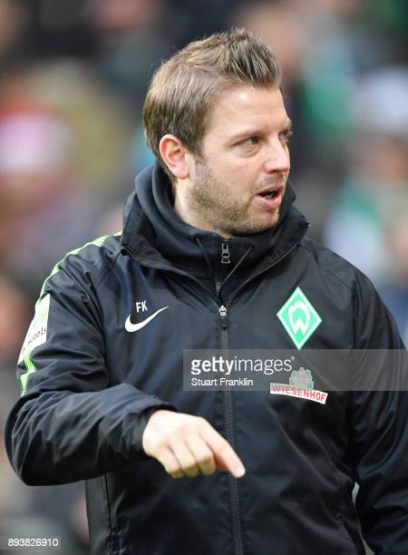 Florian Kohfeldt head coach of Bremen looks on during the Bundesliga match between SV Werder Bremen and 1 FSV Mainz 05 at Weserstadion on December 16...
