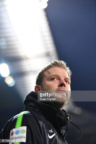 Florian Kohfeldt head coach of Bremen looks on during the Bundesliga match between SV Werder Bremen and VfL Wolfsburg at Weserstadion on February 11...