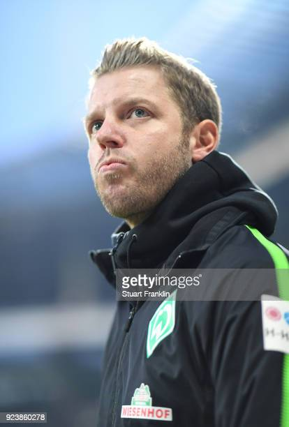 Florian Kohfeldt head coach of Bremen looks on during the Bundesliga match between SV Werder Bremen and Hamburger SV at Weserstadion on February 24...