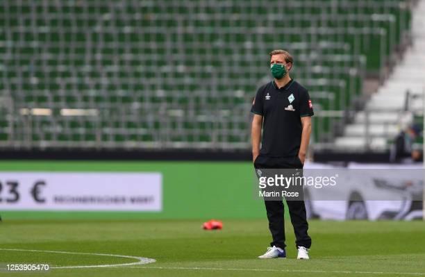 Florian Kohfeldt, head coach of Bremen looks on prior to the Bundesliga playoff first leg match between Werder Bremen and 1. FC Heidenheim at...