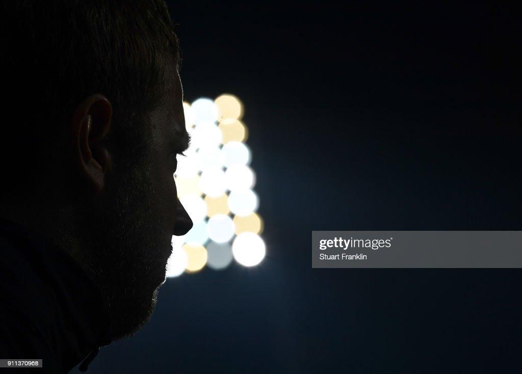 Florian Kohfeldt, head coach of Bremen ponders during the Bundesliga match between SV Werder Bremen and Hertha BSC at Weserstadion on January 27, 2018 in Bremen, Germany.