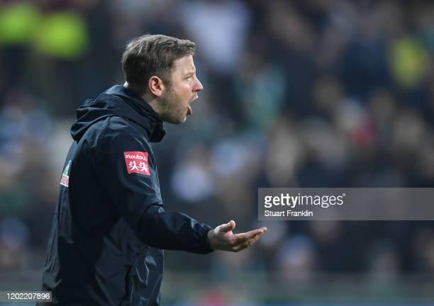 Florian Kohfeldt, head coach of Bremen reacts during the Bundesliga match between SV Werder Bremen and TSG 1899 Hoffenheim at Wohninvest Weserstadion...