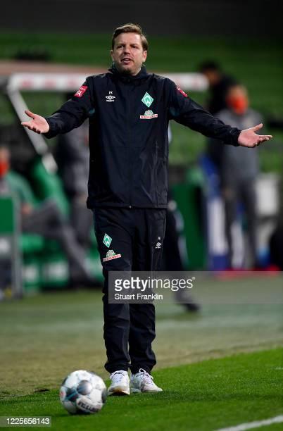 Florian Kohfeldt, head coach of Bremen reacts during the Bundesliga match between SV Werder Bremen and Bayer 04 Leverkusen at Wohninvest Weserstadion...