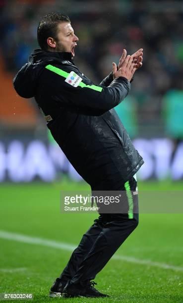 Florian Kohfeldt,, head coach of Bremen reacts during the Bundesliga match between SV Werder Bremen and Hannover 96 at Weserstadion on November 19,...