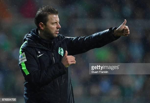 Florian Kohfeldt head coach of Bremen reacts during the Bundesliga match between SV Werder Bremen and Hannover 96 at Weserstadion on November 19 2017...