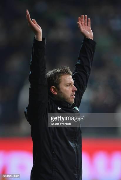 Florian Kohfeldt head coach of Bremen reacts during the Bundesliga match between SV Werder Bremen and VfB Stuttgart at Weserstadion on December 2...