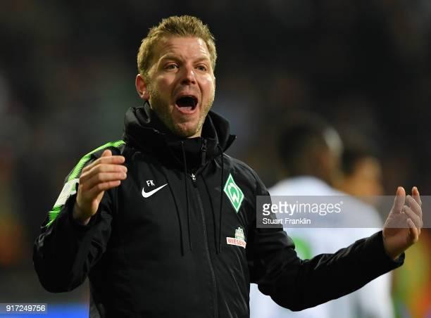 Florian Kohfeldt head coach of Bremen reacts during the Bundesliga match between SV Werder Bremen and VfL Wolfsburg at Weserstadion on February 11...