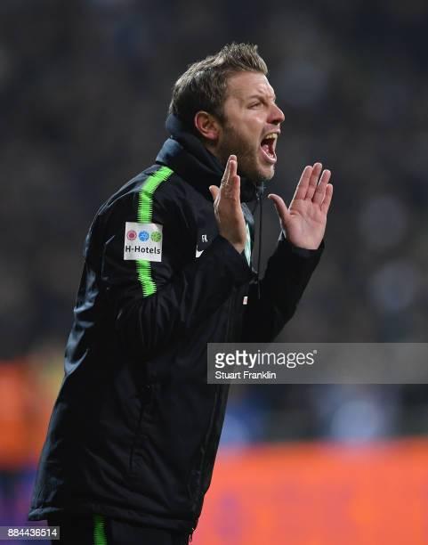 Florian Kohfeldt, head coach of Bremen shouts during the Bundesliga match between SV Werder Bremen and VfB Stuttgart at Weserstadion on December 2,...