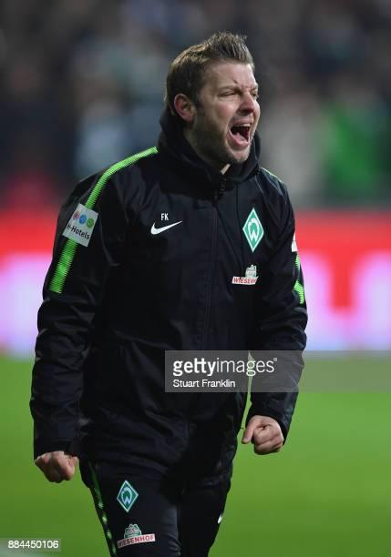 Florian Kohfeldt head coach of Bremen shouts during the Bundesliga match between SV Werder Bremen and VfB Stuttgart at Weserstadion on December 2...