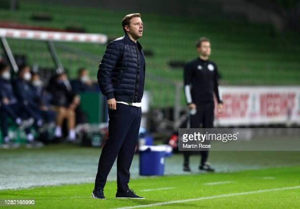 Florian Kohfeldt, Head Coach of SV Werder Bremen looks on during the Bundesliga match between SV Werder Bremen and TSG Hoffenheim at Wohninvest...