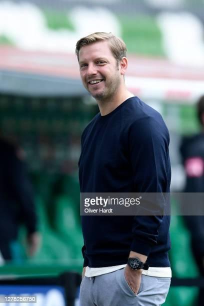 Florian Kohfeldt, Head Coach of SV Werder Bremen looks on prior to the Bundesliga match between SV Werder Bremen and DSC Arminia Bielefeld at...