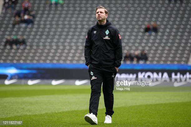 Florian Kohfeldt, Manager of Werder Bremen looks on prior the Bundesliga match between Hertha BSC and SV Werder Bremen at Olympiastadion on March 07,...