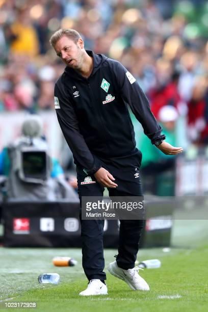 Florian Kohfeldt, Manager of Werder Bremen reacts during the Bundesliga match between SV Werder Bremen and Hannover 96 at Weserstadion on August 25,...