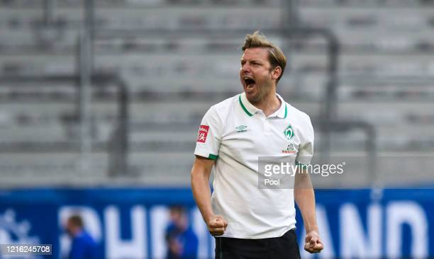 Florian Kohfeldt of Bremen celebrates during the Bundesliga match between FC Schalke 04 and SV Werder Bremen at VeltinsArena on May 30 2020 in...