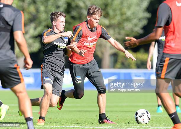 Florian Kohls and Maximilian Mittelstaedt of Hertha BSC during the training on september 6 2016 in Berlin Germany