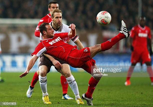 Florian Kringe of St Pauli and Matthias Lehmann of Koeln compete for the ball during the Second Bundesliga match between FC St Pauli and 1 FC Koeln...