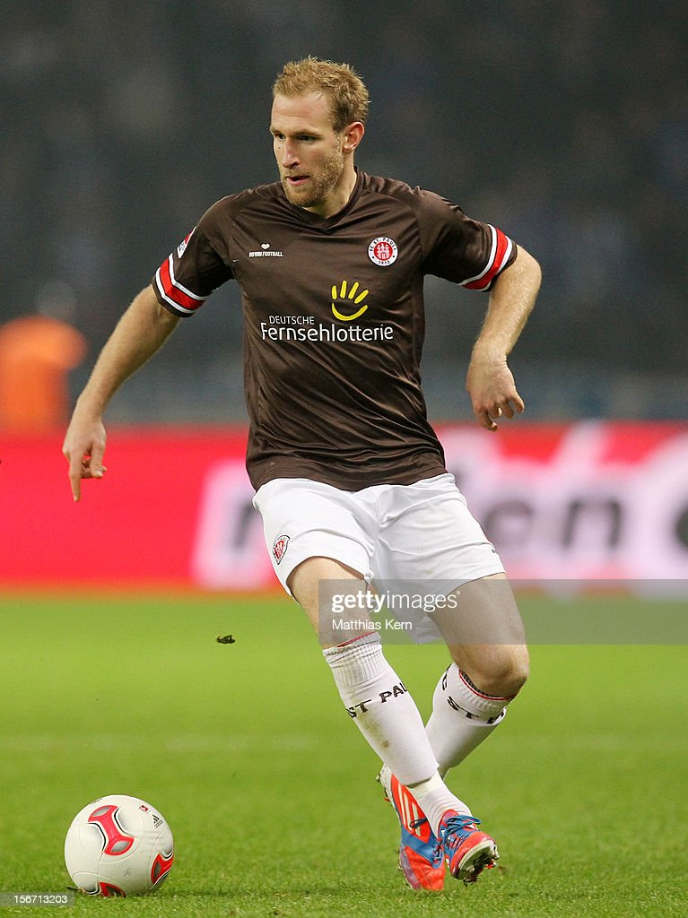 Florian Kringe of St. Pauli runs with the ball during the Second Bundesliga match between Hertha BSC Berlin and FC St. Pauli at Olympic stadium on November 19, 2012 in Berlin, Germany.