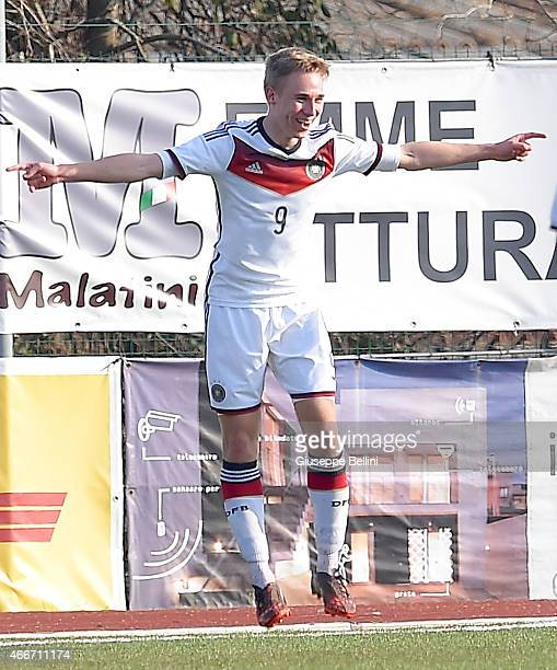 Florian Kruger of Germany celebrates after scoring the second team's goal during the international friendly match between U16 Italy and U16 Germany...