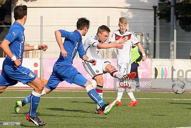 Florian Kruger of Germany scores the second team's goal during the international friendly match between U16 Italy and U16 Germany on March 18 2015 in...