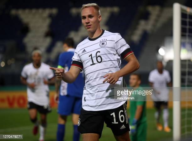 Florian Kruger of Germany U21 celebrates after scoring his team's fourth goal during the UEFA Euro Under 21 Qualifier match between Germany U21 and...