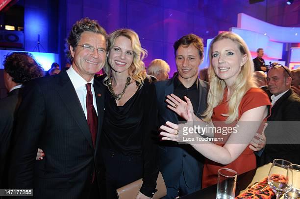 Florian Langenscheidt and wife Miriam Friedrich and Jette Joop and Christian Elsen attend the 'Deutscher Gruenderpreis 2012' at Zollernhof ZDF on...