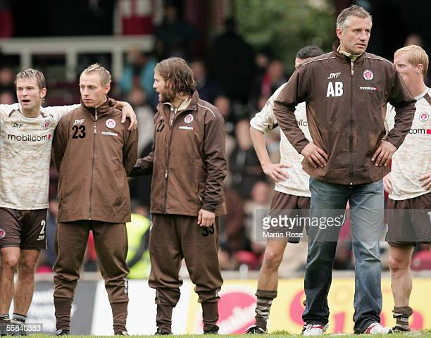 Florian Lechner Dennis Tornieporth Benjamin Adrion and headcoach Andreas Bergmann of StPauli looked dejected after losing the match of the Third...