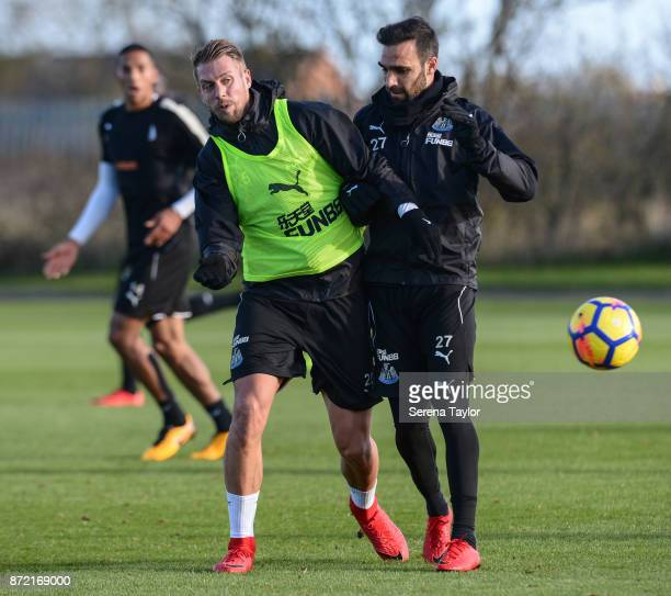Florian Lejeune and Jesus Gamez jostle for the ball during the Newcastle United Training session at the Newcastle Untied Training Centre on November...