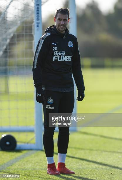 Florian Lejeune during the Newcastle United Training session at the Newcastle Untied Training Centre on November 16 in Newcastle upon Tyne England
