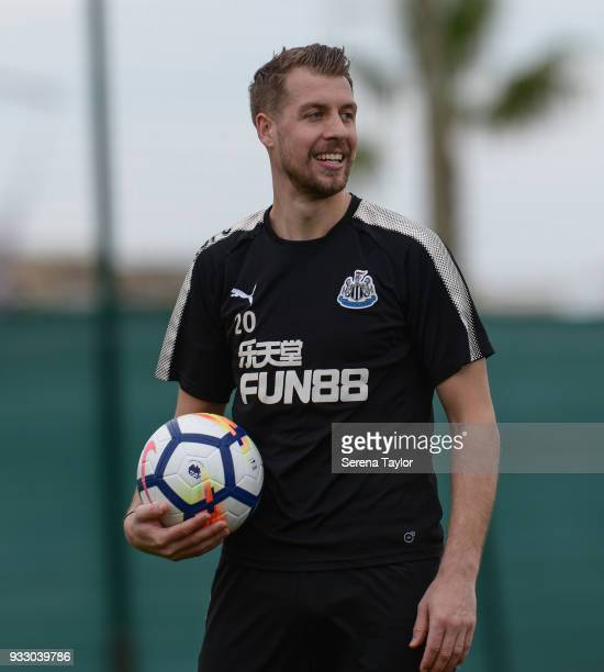 Florian Lejeune holds the ball during the Newcastle United Training Session at Hotel La Finca on March 17 in Alicante Spain
