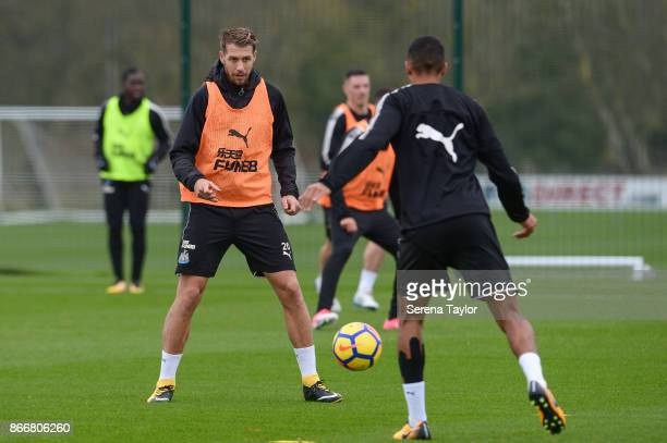 Florian Lejeune looks to intercept the ball during the Newcastle United Training Session at The Newcastle United Training Centre on October 26 in...