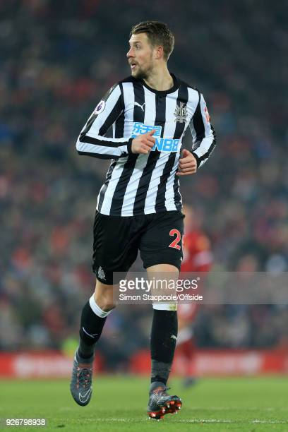 Florian Lejeune of Newcastle in action during the Premier League match between Liverpool and Newcastle United at Anfield on March 3 2018 in Liverpool...
