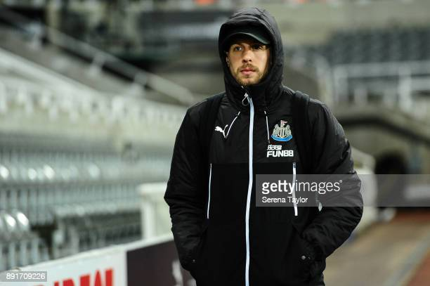 Florian Lejeune of Newcastle United arrives for the Premier League Match between Newcastle United and Everton at StJames' Park on December 13 in...