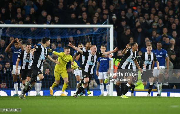 Florian Lejeune of Newcastle United celebrates after scoring his team's second goal during the Premier League match between Everton FC and Newcastle...