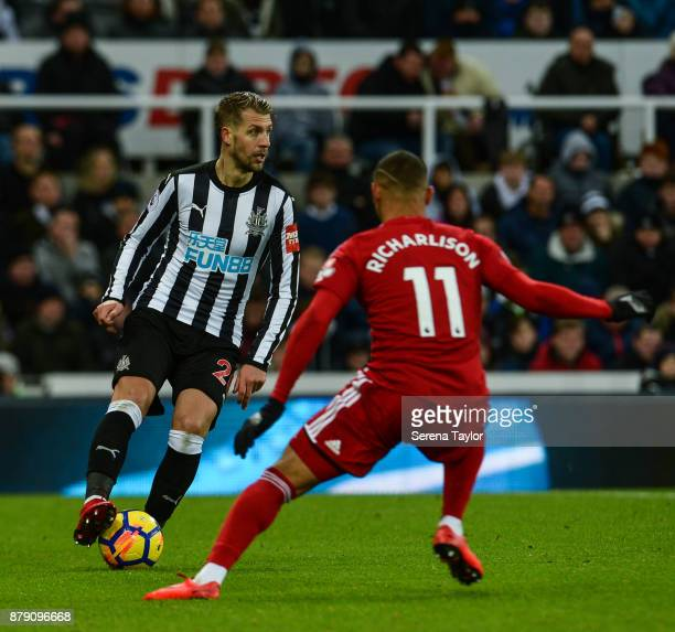 Florian Lejeune of Newcastle United controls the ball during the Premier League match between Newcastle United and Watford FC at StJames' Park on...