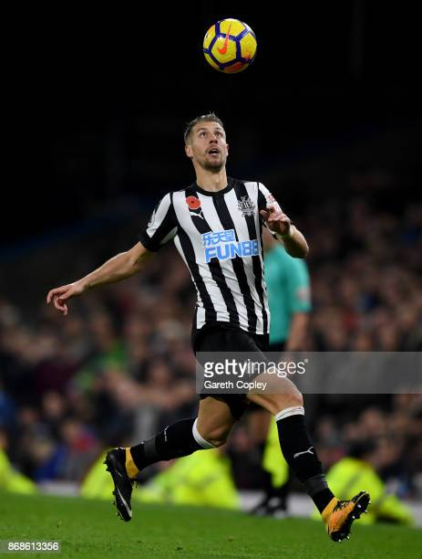 Florian Lejeune of Newcastle United during the Premier League match between Burnley and Newcastle United at Turf Moor on October 30 2017 in Burnley...