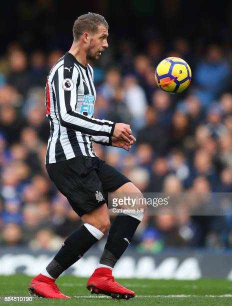 Florian Lejeune of Newcastle United during the Premier League match between Chelsea and Newcastle United at Stamford Bridge on December 2 2017 in...
