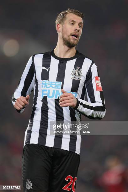 Florian Lejeune of Newcastle United during the Premier League match between Liverpool and Newcastle United at Anfield on March 3 2018 in Liverpool...