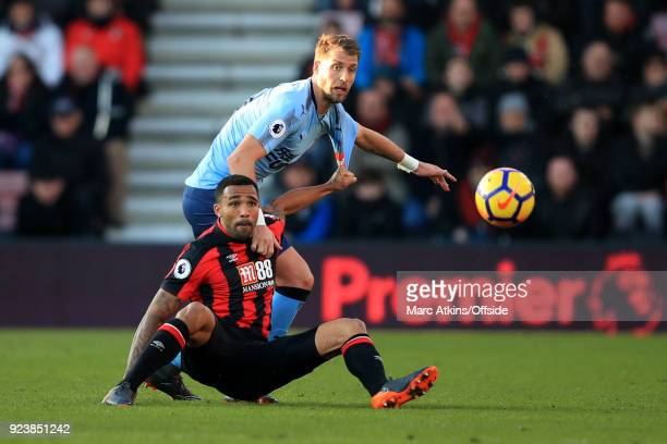 Florian Lejeune of Newcastle United in action with Callum Wilson of AFC Bournemouth during the Premier League match between AFC Bournemouth and...