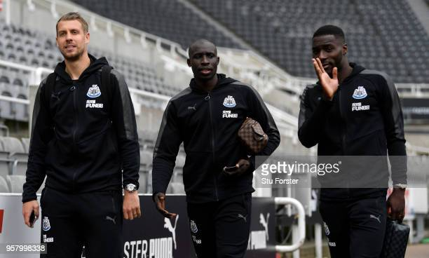 Florian Lejeune of Newcastle United Mohamed Diame of Newcastle United and Massadio Haidara of Newcastle United arrives at the stadium prior to the...