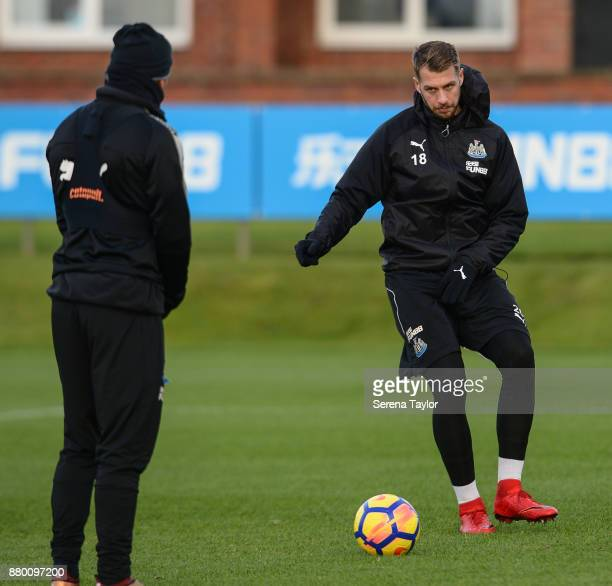 Florian Lejeune of Newcastle United passes the ball during the Newcastle United training session at the Newcastle United Training Centre on November...