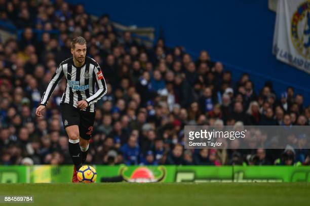 Florian Lejeune of Newcastle United passes the ball during the Premier League match between Chelsea and Newcastle United at Stamford Bridge December...