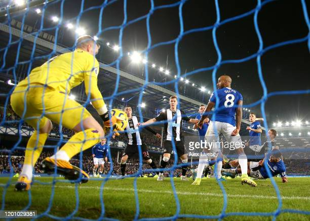 Florian Lejeune of Newcastle United scores his team's second goal as Jordan Pickford of Everton saves the ball behind the line during the Premier...